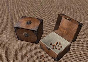 园林小品室内外装饰木箱子模型