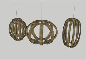 园林小品室内外装饰竹子灯笼模型