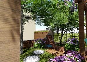 别墅庭院花园景观设计2SU(草图大师)方案