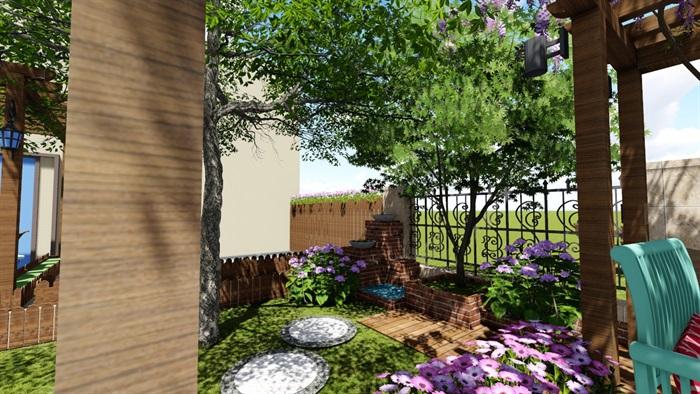别墅庭院花园景观设计2su方案(1)