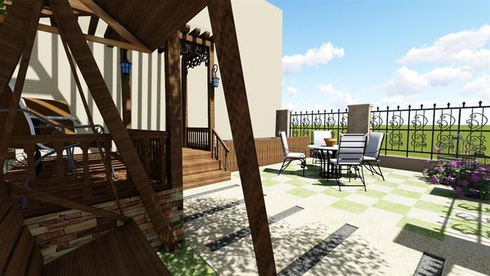 别墅庭院花园景观设计2su方案(3)