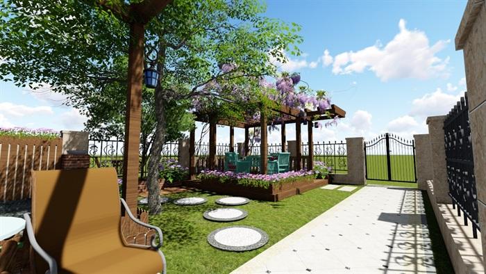 别墅庭院花园景观设计2su方案(7)