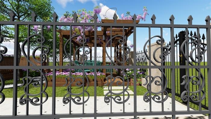别墅庭院花园景观设计2su方案(8)