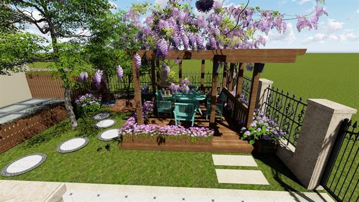 别墅庭院花园景观设计2su方案(9)