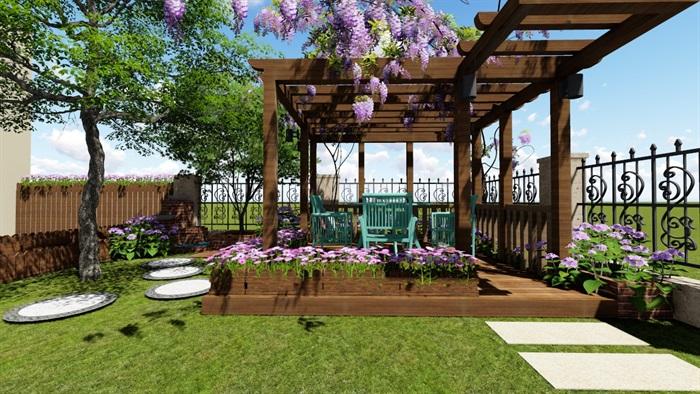 别墅庭院花园景观设计2su方案(10)