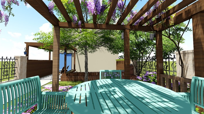 别墅庭院花园景观设计2su方案(11)