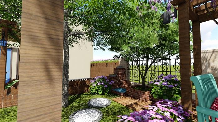 别墅庭院花园景观设计2su方案(12)