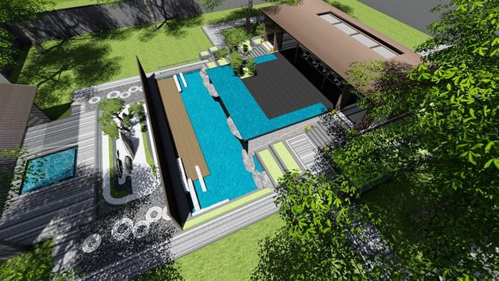新中式别墅庭院景观设计3(2)