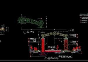 园林景观详细的完整大门cad施工图