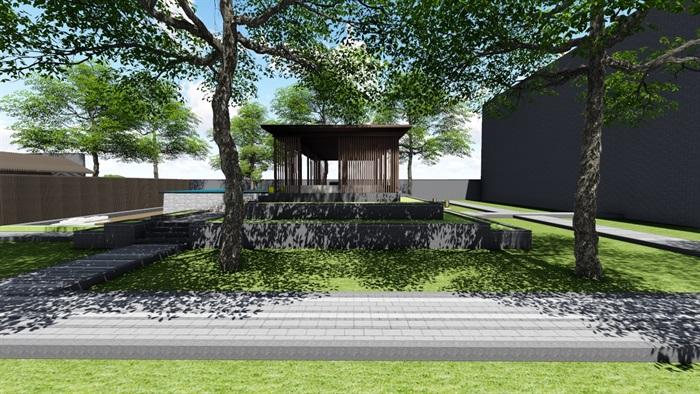 新中式别墅庭院景观设计3(4)