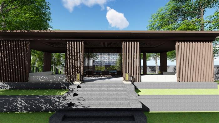 新中式别墅庭院景观设计3(5)