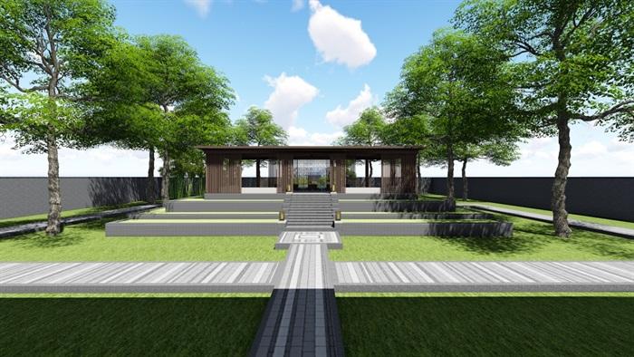 新中式别墅庭院景观设计3(6)