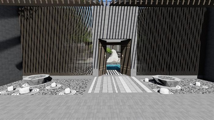新中式别墅庭院景观设计3(7)