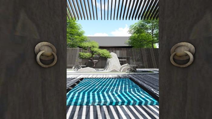 新中式别墅庭院景观设计3(8)