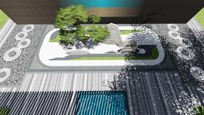 新中式别墅庭院景观设计3(9)