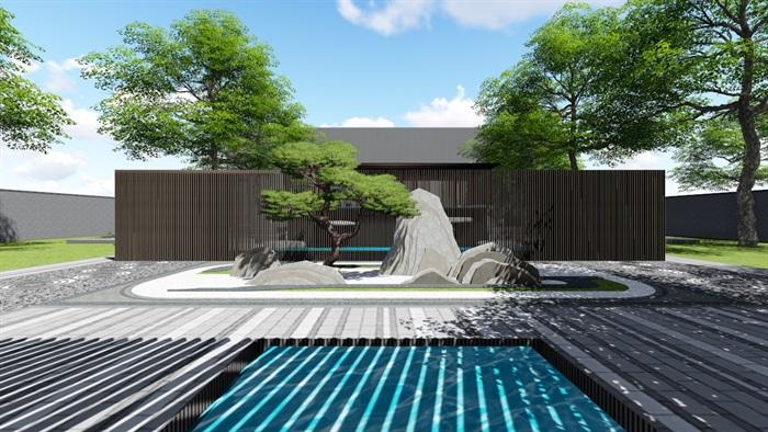 新中式别墅庭院景观设计3(10)