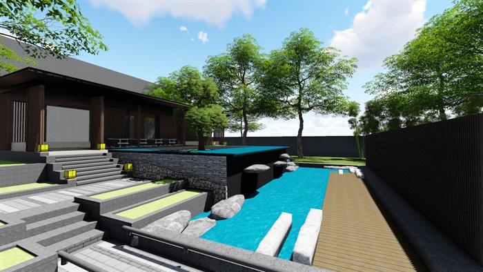 新中式别墅庭院景观设计3(13)