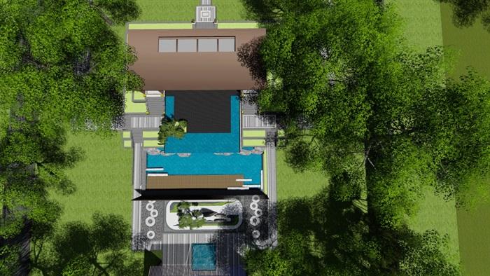 新中式别墅庭院景观设计3(15)