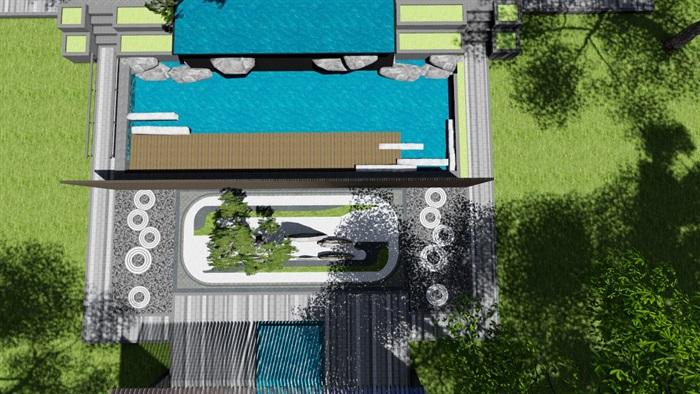 新中式别墅庭院景观设计3(16)