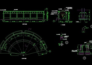 现代弧形廊景观素材cad施工图
