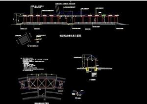 现代钢架结构廊设计cad施工图