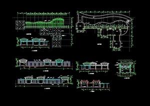 详细的中式亭廊设计cad施工图
