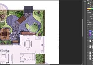 庭院景观设计平面图禅意psd素材