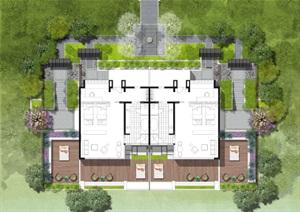 别墅庭院平面素材分层3psd