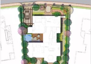 别墅庭院平面素材分层2psd