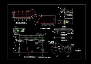 现代车库景观节点廊架设计cad施工图