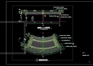 景观节点弧形廊架设计cad施工图