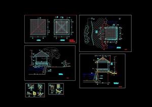 详细的完整亭子素材设计cad施工图