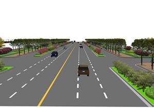 公路车辆道路线SU(草图大师)精品模型