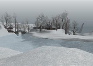 冬天雪地古建筑景观设计SU(草图大师)模型