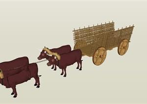 农家牛车素材精细SU(草图大师)模型
