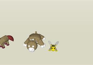 动物玩具素材SU(草图大师)精细模型