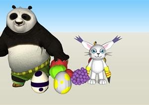 卡通动漫动物SU(草图大师)模型素材