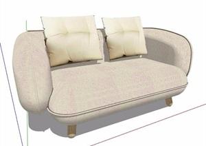 米白色布艺沙发家具SU(草图大师)模型