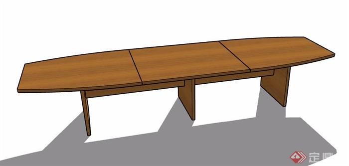 現代簡約拼接式木制長桌su模型