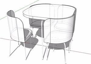 四人座洽谈桌椅素材SU(草图大师)模型