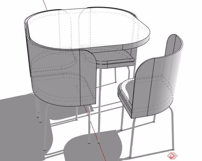 四人座洽談桌椅素材su模型