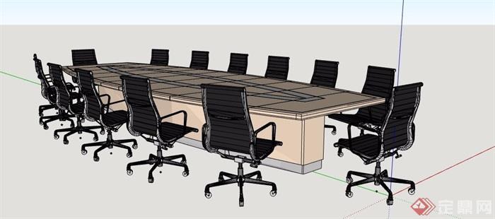 現代簡約14人座會議桌椅素材su模型
