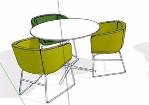现代简约洽谈桌椅素材SU(草图大师)模型
