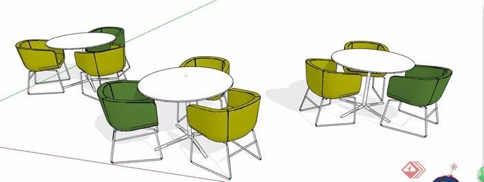 現代簡約洽談桌椅素材su模型