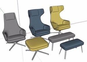 高背椅及脚凳SU(草图大师)模型