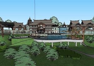度假村酒店SU(草图大师)模型-2016模型模型丰富详细,材质贴图清晰,具有很高的学习参考价值,值得下载