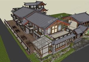 束河?瑞草居-驿站设计方案模型丰富详细,材质贴图清晰,具有很高的学习参考价值,值得下载
