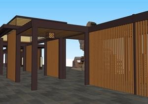 景观设计中长廊花架SU(草图大师)素材模型