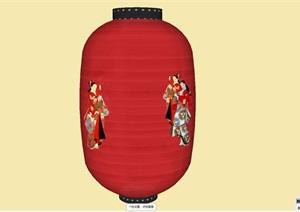 中式装饰红灯笼sketchup模型室内室外装饰灯具照明