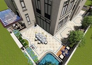 别墅庭院欧式景观设计SU(草图大师)素材模型